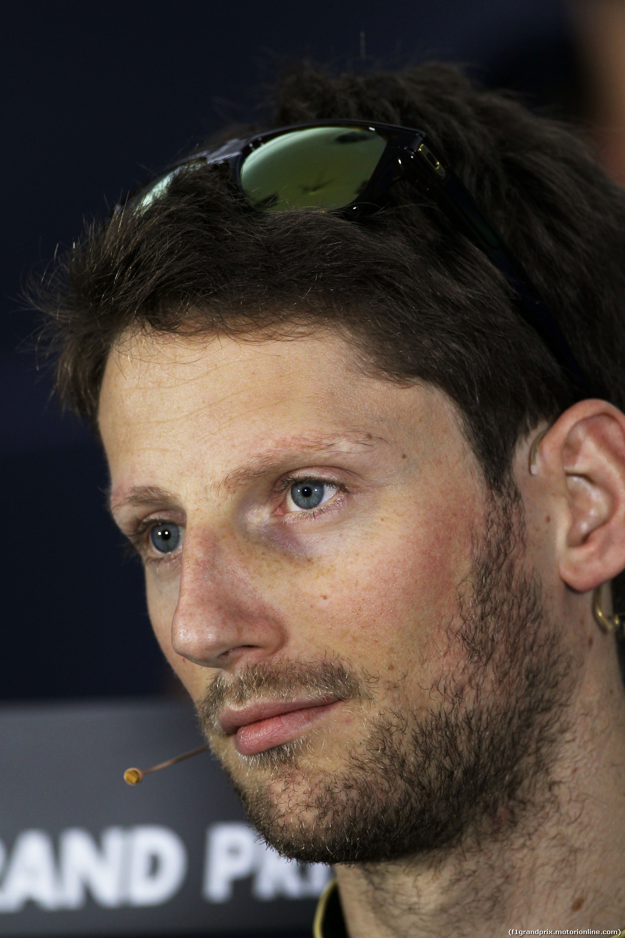 GP BAHRAIN, Romain Grosjean (FRA) Lotus F1 Team in the FIA Press Conference. 03.04.2014. Formula 1 World Championship, Rd 3, Bahrain Grand Prix, Sakhir, Bahrain, Preparation Day.