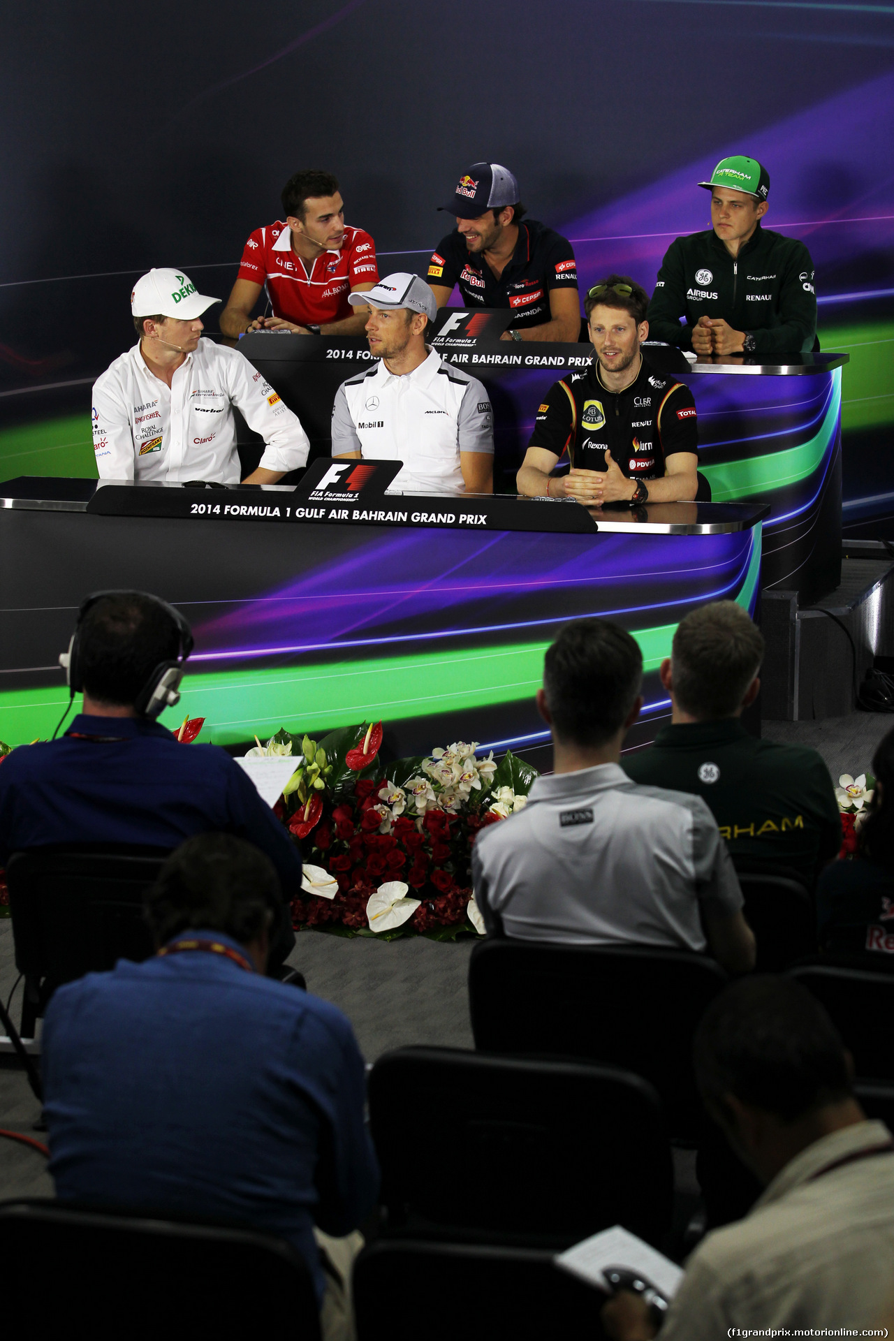 GP BAHRAIN, The FIA Press Conference (From back row (L to R)): Jules Bianchi (FRA) Marussia F1 Team; Jean-Eric Vergne (FRA) Scuderia Toro Rosso; Marcus Ericsson (SWE) Caterham; Nico Hulkenberg (GER) Sahara Force India F1; Jenson Button (GBR) McLaren; Romain Grosjean (FRA) Lotus F1 Team. 03.04.2014. Formula 1 World Championship, Rd 3, Bahrain Grand Prix, Sakhir, Bahrain, Preparation Day. -