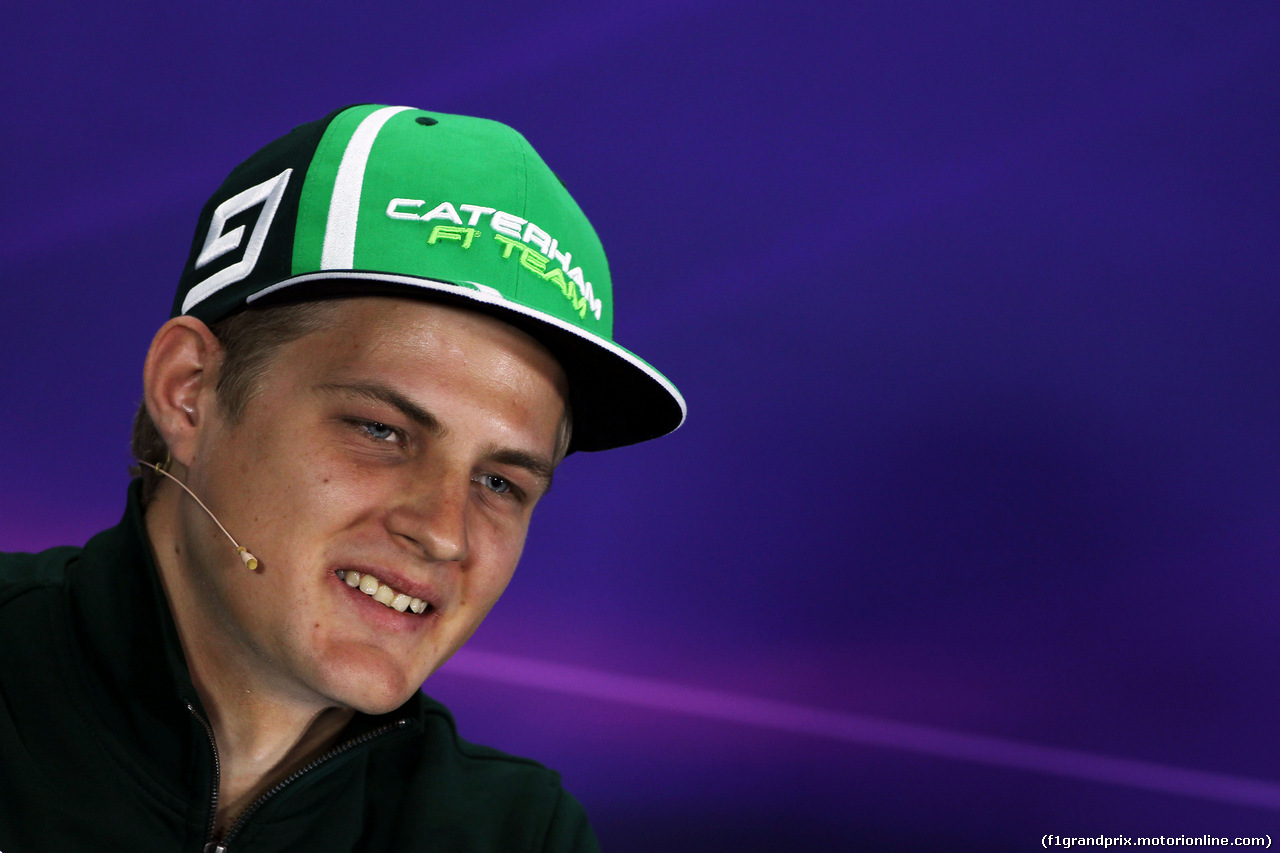 GP BAHRAIN, Marcus Ericsson (SWE) Caterham in the FIA Press Conference. 03.04.2014. Formula 1 World Championship, Rd 3, Bahrain Grand Prix, Sakhir, Bahrain, Preparation Day.