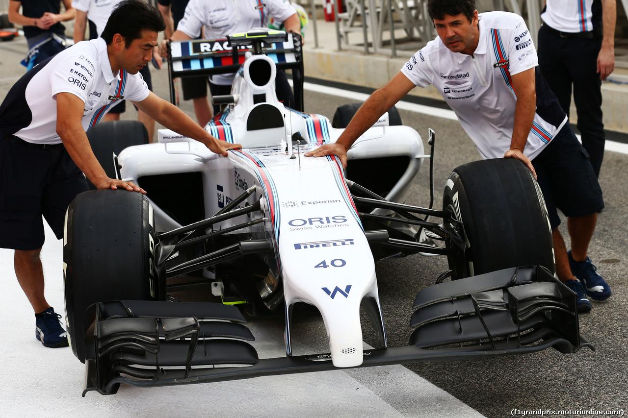 GP BAHRAIN, Williams FW36. 03.04.2014. Formula 1 World Championship, Rd 3, Bahrain Grand Prix, Sakhir, Bahrain, Preparation Day.