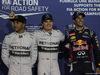 GP BAHRAIN, 05.04.2014- Qualifiche celebration: Pole Position Nico Rosberg (GER) Mercedes AMG F1 W05, 2nd Lewis Hamilton (GBR) Mercedes AMG F1 W05, 3rd Daniel Ricciardo (AUS) Infiniti Red Bull Racing RB10