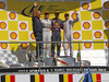 GP BELGIO, 24.08.2014- Gara, 1st position Daniel Ricciardo (AUS) Red Bull Racing RB10, secondo Nico Rosberg (GER) Mercedes AMG F1 W05 e terzo Valtteri Bottas (FIN) Williams F1 Team FW36 with Adrian Newey (GBR), Red Bull Racing , Technical Operations Director