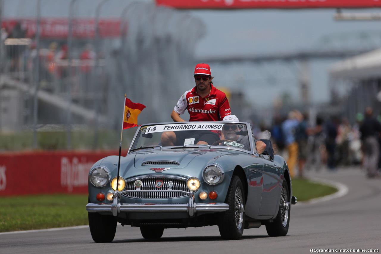 GP CANADA, 08.06.2014- Fernando Alonso (ESP) Ferrari F14-T at drivers parade