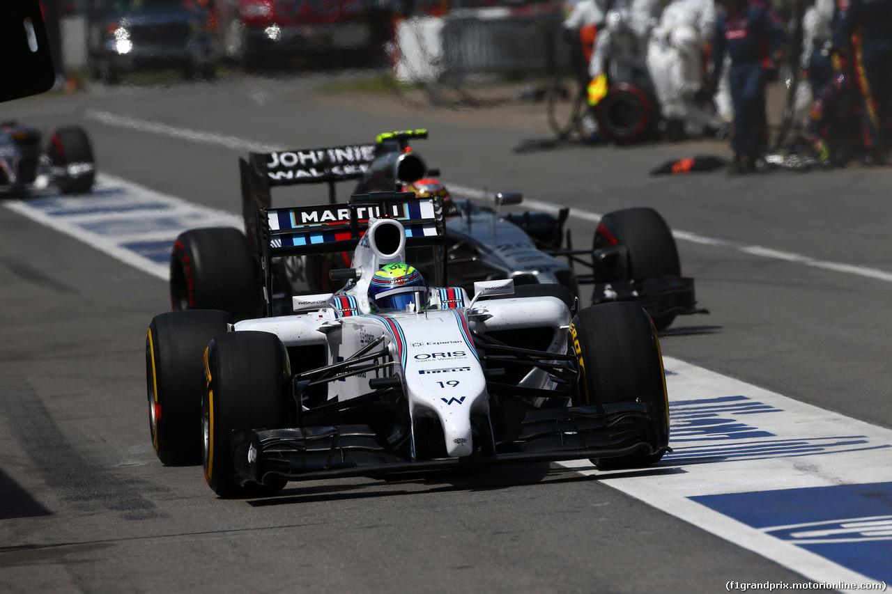 GP CANADA, 08.06.2014- Gara, Pit stop, Felipe Massa (BRA) Williams F1 Team FW36 e Kevin Magnussen (DEN) McLaren Mercedes MP4-29
