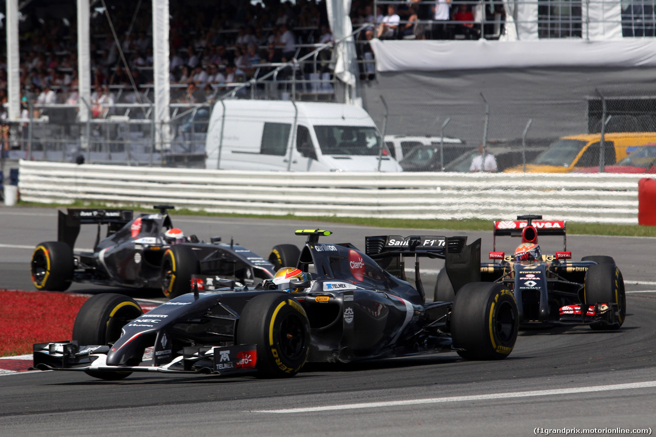 GP CANADA, 08.06.2014- Gara, Esteban Gutierrez (MEX), Sauber F1 Team C33 davanti a Romain Grosjean (FRA) Lotus F1 Team E22