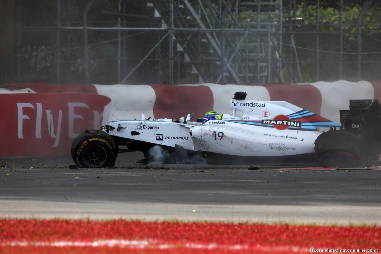 GP CANADA, 08.06.2014- Gara, Crash, Felipe Massa (BRA) Williams F1 Team FW36