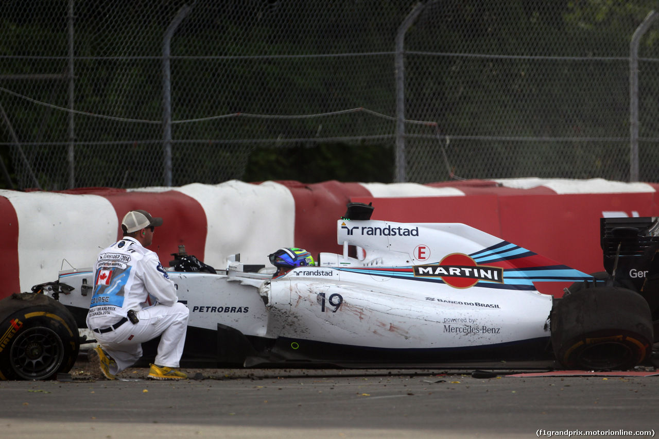 GP CANADA, 08.06.2014- Gara, Crash, Felipe Massa (BRA) Williams F1 Team FW36