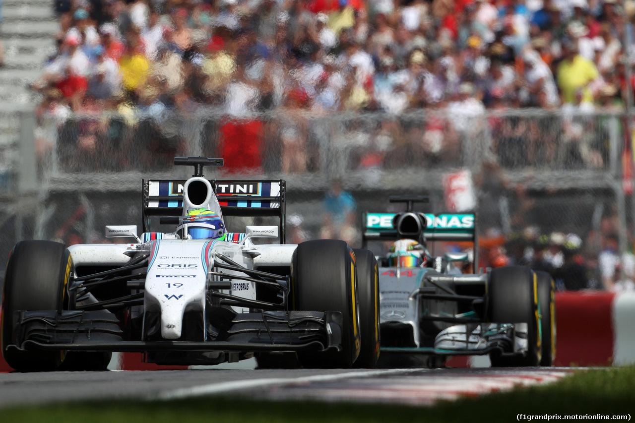 GP CANADA, 08.06.2014- Gara, Felipe Massa (BRA) Williams F1 Team FW36 e Lewis Hamilton (GBR) Mercedes AMG F1 W05