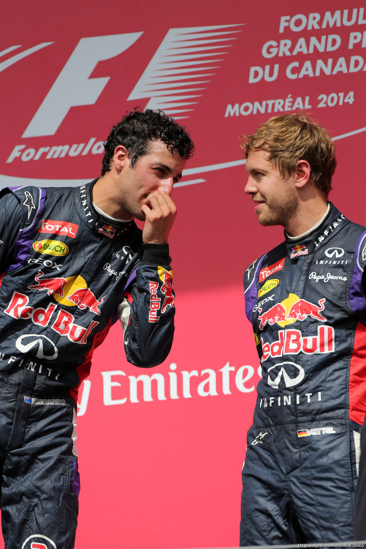 GP CANADA, 08.06.2014- Gara, 1st position Daniel Ricciardo (AUS) Red Bull Racing RB10 e terzo Sebastian Vettel (GER) Red Bull Racing RB10