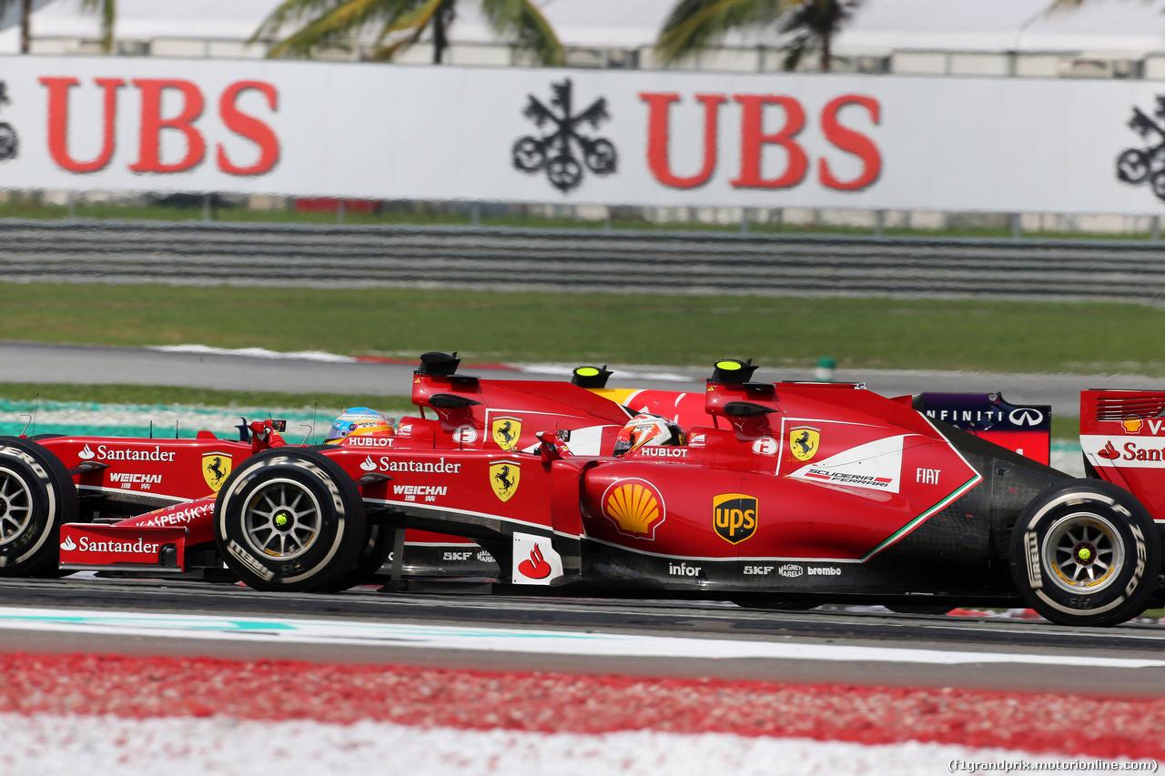 GP MALESIA, 30.03.2014 - Gara, Fernando Alonso (ESP) Ferrari F14-T e Kimi Raikkonen (FIN) Ferrari F14-T