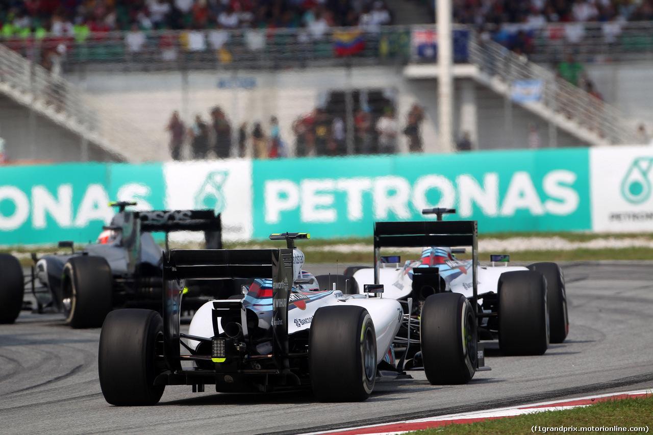 GP MALESIA, 30.03.2014 - Gara, Felipe Massa (BRA) Williams F1 Team FW36 davanti a Valtteri Bottas (FIN) Williams F1 Team FW36