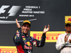 GP UNGHERIA, 27.07.2014- Gara, Daniel Ricciardo (AUS) Red Bull Racing RB10, vincitore e terzo Lewis Hamilton (GBR) Mercedes AMG F1 W05