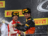 GP RUSSIA, 11.10.2015 - Gara, secondo avd e terzo Sergio Perez (MEX) Sahara Force India F1 VJM08