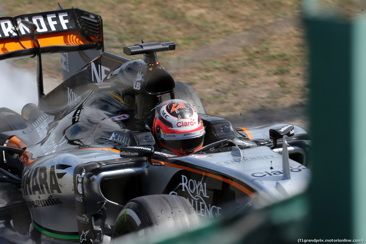 GP UNGHERIA, 26.07.2015 - Gara, Crash, Nico Hulkenberg (GER) Sahara Force India F1 VJM08