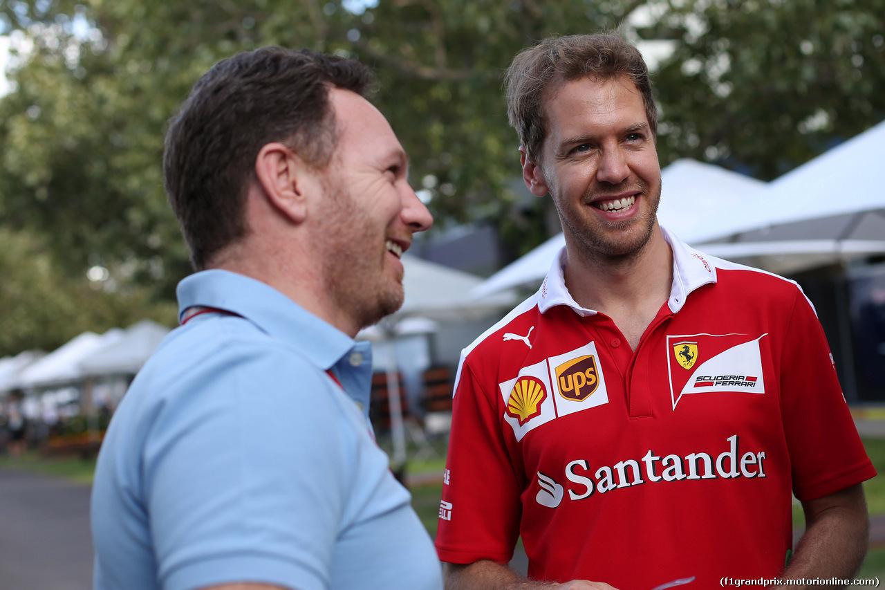 GP AUSTRALIA, 17.03.2016 - Christian Horner (GBR), Red Bull Racing, Sporting Director e Sebastian Vettel (GER) Ferrari SF16-H