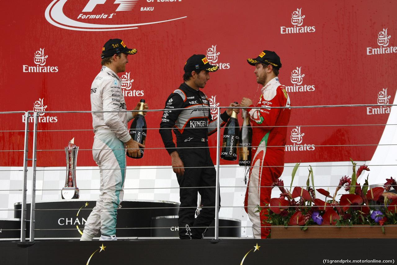 GP EUROPA, 19.06.2016 - Gara, 1st position Nico Rosberg (GER) Mercedes AMG F1 W07 Hybrid, secondo Sebastian Vettel (GER) Ferrari SF16-H e terzo Sergio Perez (MEX) Sahara Force India F1 VJM09