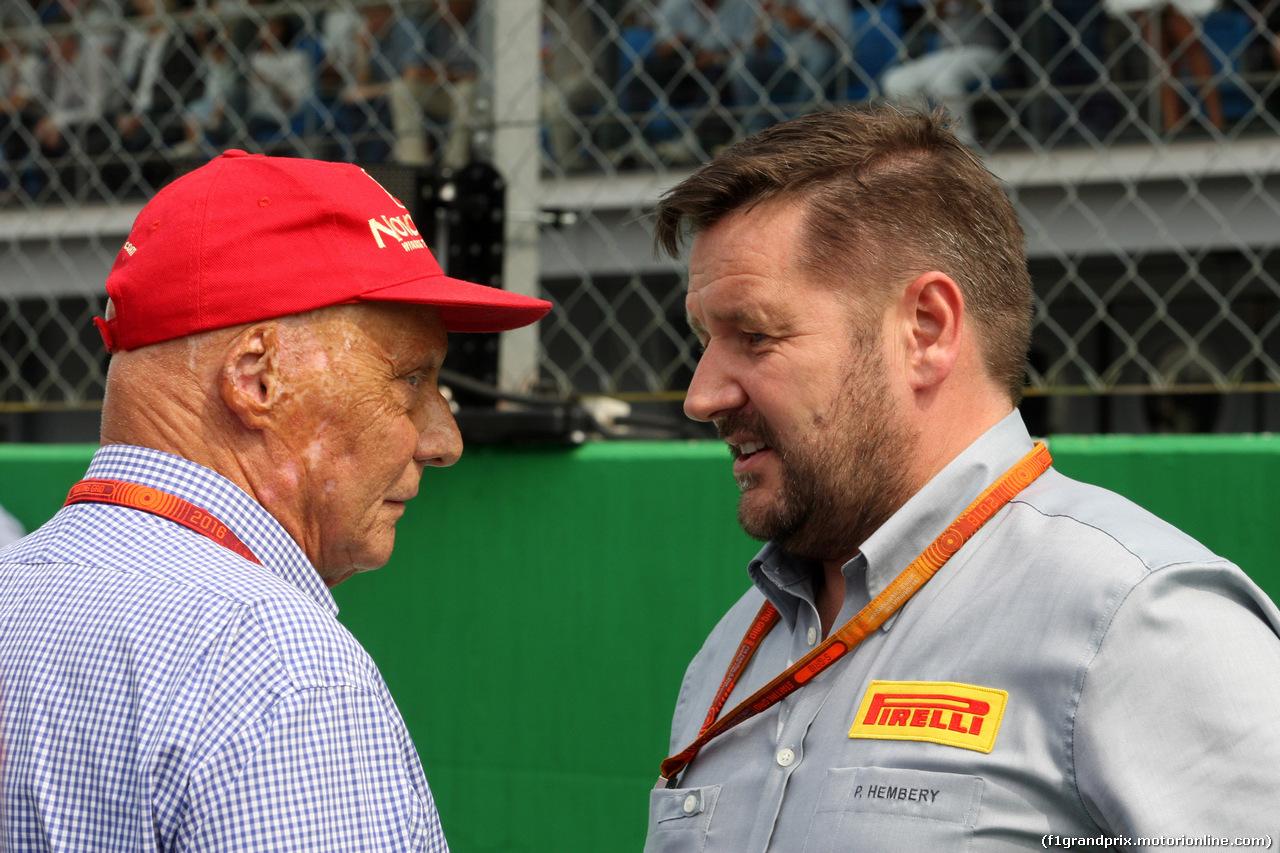 GP ITALIA, 04.09.2016 - Gara, Nikki Lauda (AU), Mercedes e Paul Hembery, Pirelli Motorspor Director