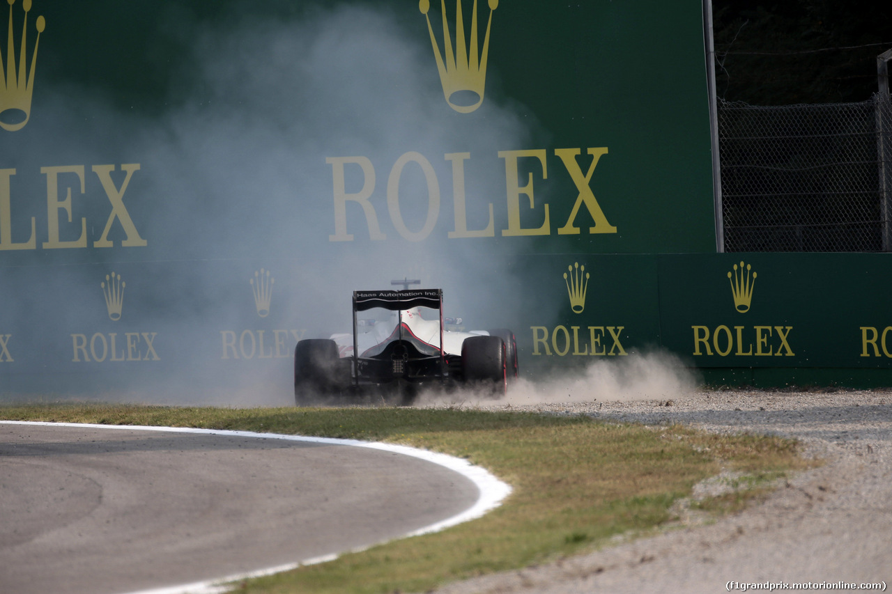 GP ITALIA, 03.09.2016 - Prove Libere 3, Crash, Romain Grosjean (FRA) Haas F1 Team VF-16