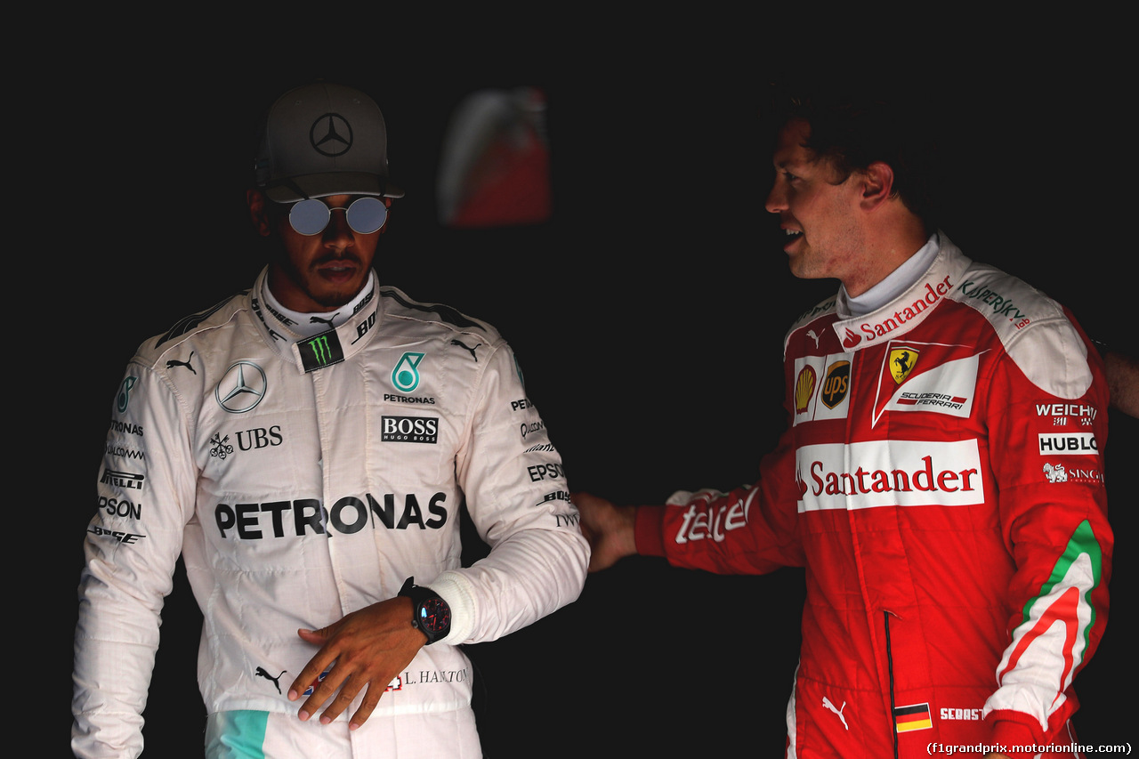 GP ITALIA, 03.09.2016 - Qualifiche, Lewis Hamilton (GBR) Mercedes AMG F1 W07 Hybrid pole position e terzo Sebastian Vettel (GER) Ferrari SF16-H