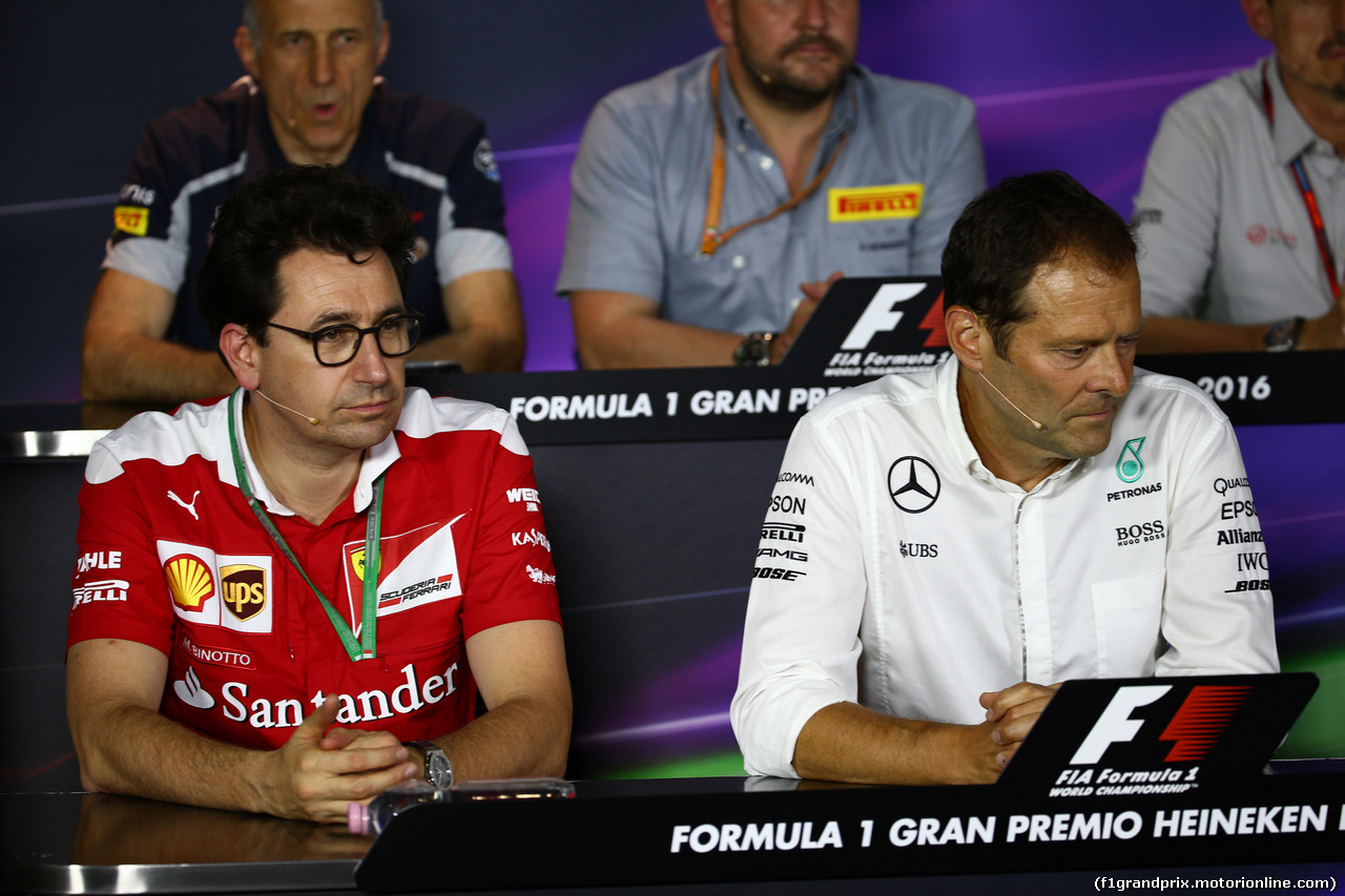 GP ITALIA, 02.09.2016 - Conferenza Stampa, Mattia Binotto (ITA) Chief Technical Officer, Ferrari e Aldo Costa (ITA) Mercedes AMG F1 Engineering Director.