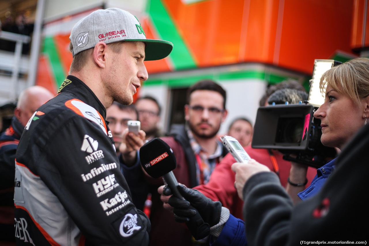 TEST F1 BARCELLONA 24 FEBBRAIO, Nico Hulkenberg (GER) Sahara Force India F1 with Rachel Brookes (GBR) Sky Sports F1 Reporter. 24.02.2016.