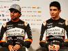 FORCE INDIA VJM10, (L to R): Sergio Perez (MEX) Sahara Force India F1 with Esteban Ocon (FRA) Sahara Force India F1 Team. 22.02.2017.