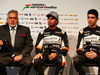 FORCE INDIA VJM10, (L to R): Dr. Vijay Mallya (IND) Sahara Force India F1 Team Owner with Sergio Perez (MEX) Sahara Force India F1 e Esteban Ocon (FRA) Sahara Force India F1 Team. 22.02.2017.