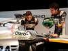 FORCE INDIA VJM10, (L to R): Alfonso Celis Jr (MEX) Sahara Force India F1 Development Driver with Sergio Perez (MEX) Sahara Force India F1 e the Sahara Force India F1 VJM10. 22.02.2017.