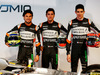 FORCE INDIA VJM10, (L to R): Sergio Perez (MEX) Sahara Force India F1 with Alfonso Celis Jr (MEX) Sahara Force India F1 Development Driver e Esteban Ocon (FRA) Sahara Force India F1 Team. 22.02.2017.