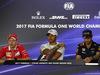 GP ABU DHABI, 23.11.2017 -  Conferenza Stampa, Sebastian Vettel (GER) Ferrari SF70H, Lewis Hamilton (GBR) Mercedes AMG F1 W08 e Daniel Ricciardo (AUS) Red Bull Racing RB13