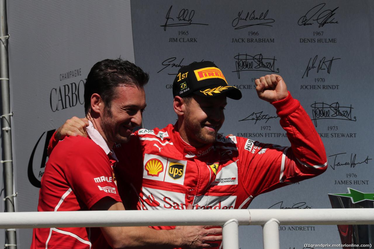 GP BRASILE, 12.11.2017 - Gara, Sebastian Vettel (GER) Ferrari SF70H vincitore