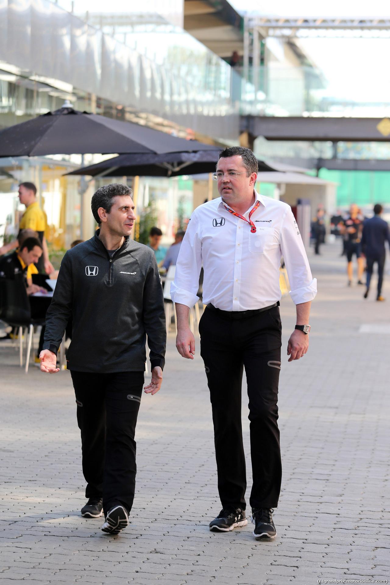 GP BRASILE, 10.11.2017 - Prove Libere 1, Andrea Stella (ITA) Mclaren race Engineer e Eric Boullier (FRA) McLaren Racing Director