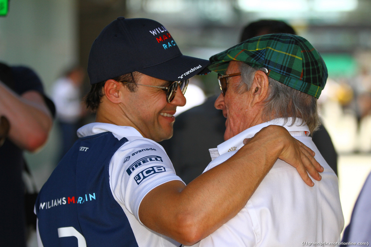 GP BRASILE, 10.11.2017 - Prove Libere 1, Felipe Massa (BRA) Williams FW40 e Sir Jackie Stewart (GBR)