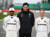 MERCEDES W08 HYBRID, (L to R): Lewis Hamilton (GBR) Mercedes AMG F1 with Toto Wolff (GER) Mercedes AMG F1 Shareholder e Executive Director e Valtteri Bottas (FIN) Mercedes AMG F1. 23.02.2017.