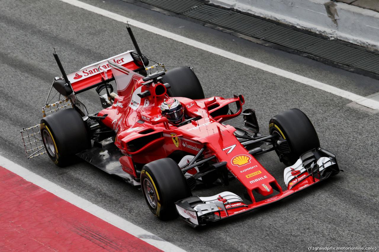 TEST F1 BARCELLONA 8 MARZO, Kimi Raikkonen (FIN) Ferrari SF70H running sensor equipment. 08.03.2017.