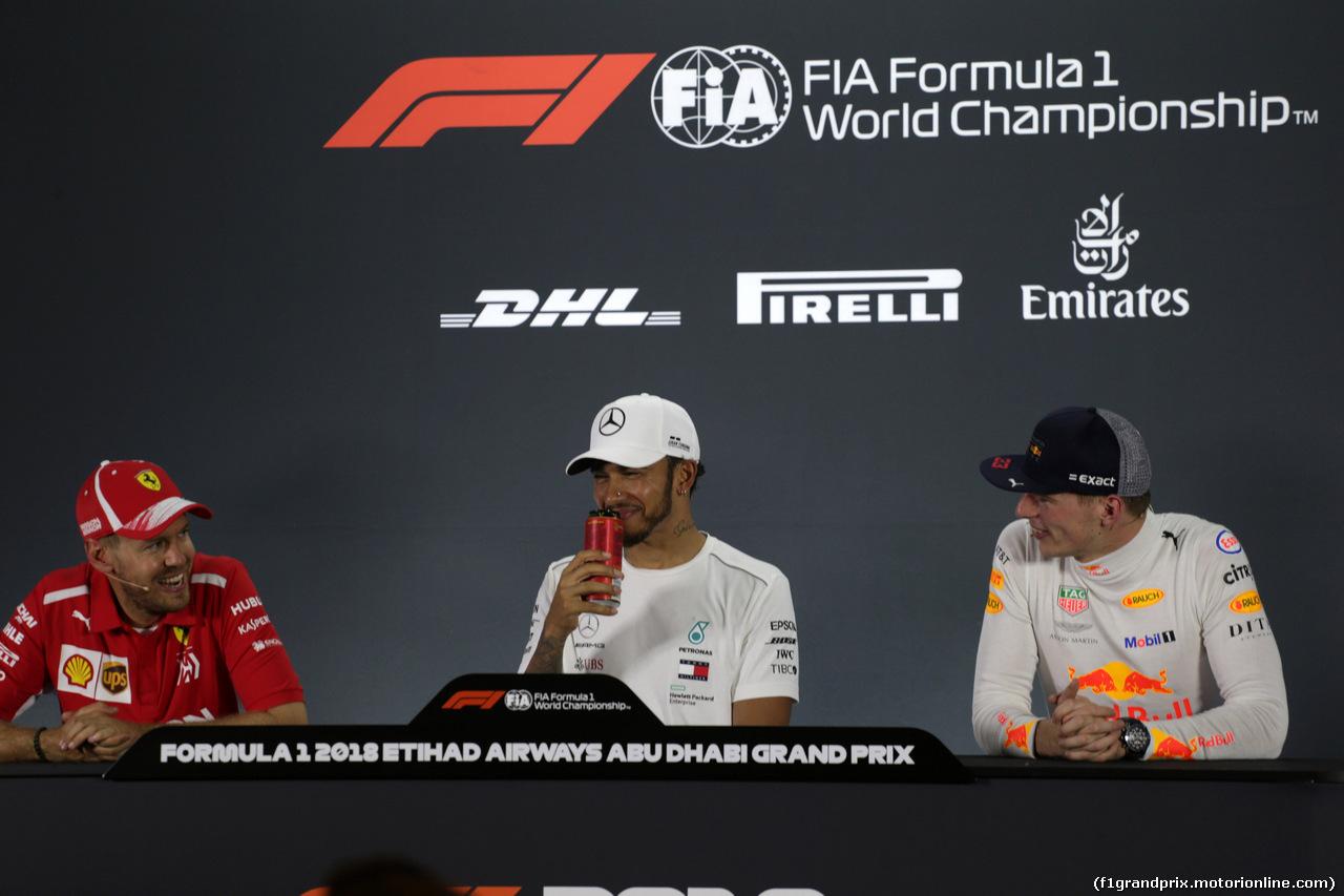 GP ABU DHABI, 25.11.2018 - Gara, Conferenza Stampa, Sebastian Vettel (GER) Ferrari SF71H, Lewis Hamilton (GBR) Mercedes AMG F1 W09 e Max Verstappen (NED) Red Bull Racing RB14