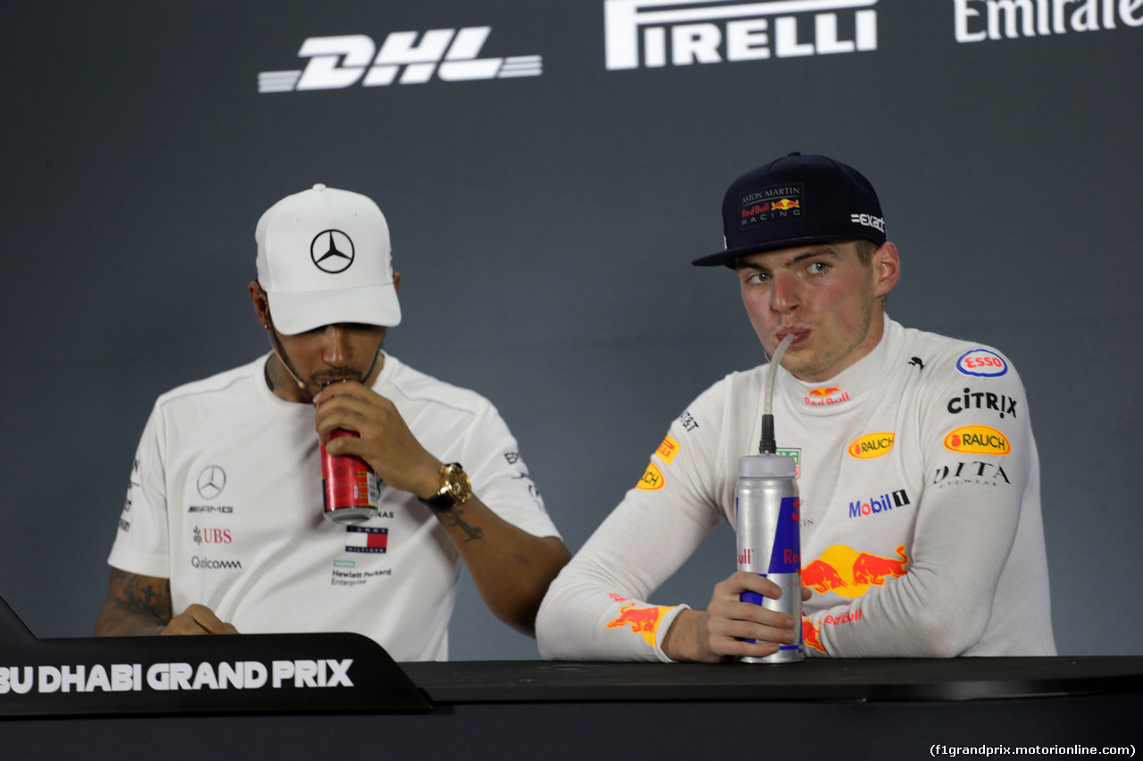 GP ABU DHABI, 25.11.2018 - Gara, Conferenza Stampa, Lewis Hamilton (GBR) Mercedes AMG F1 W09 e Max Verstappen (NED) Red Bull Racing RB14