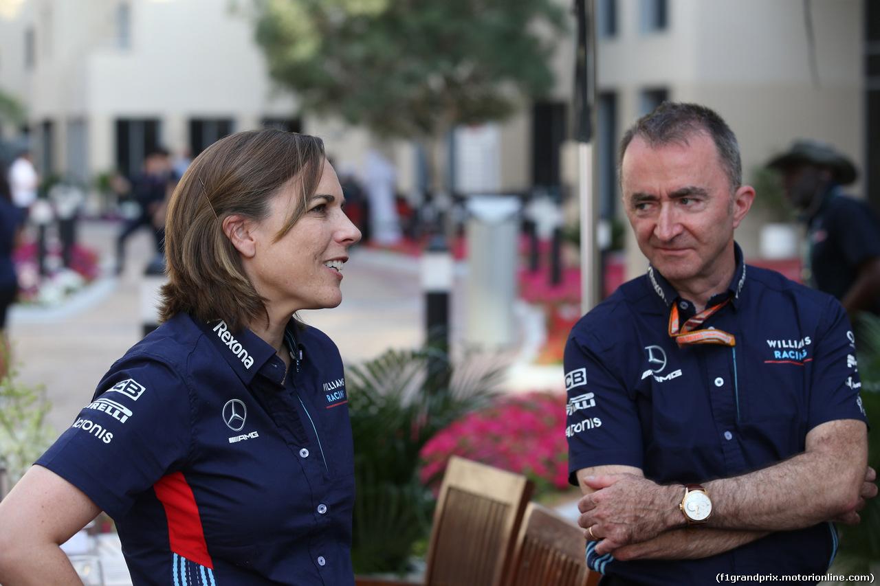 GP ABU DHABI, 24.11.2018 - Qualifiche, Claire Williams (GBR) Williams Deputy Team Principal. e Paddy Lowe (GBR), Williams chief technical officer