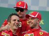 GP AUSTRALIA, 25.03.2018 - Gara, Sebastian Vettel (GER) Ferrari SF71H vincitore, 3rd place Kimi Raikkonen (FIN) Ferrari SF71H e Iñaki Rueda (ESP) Ferrari Strategy