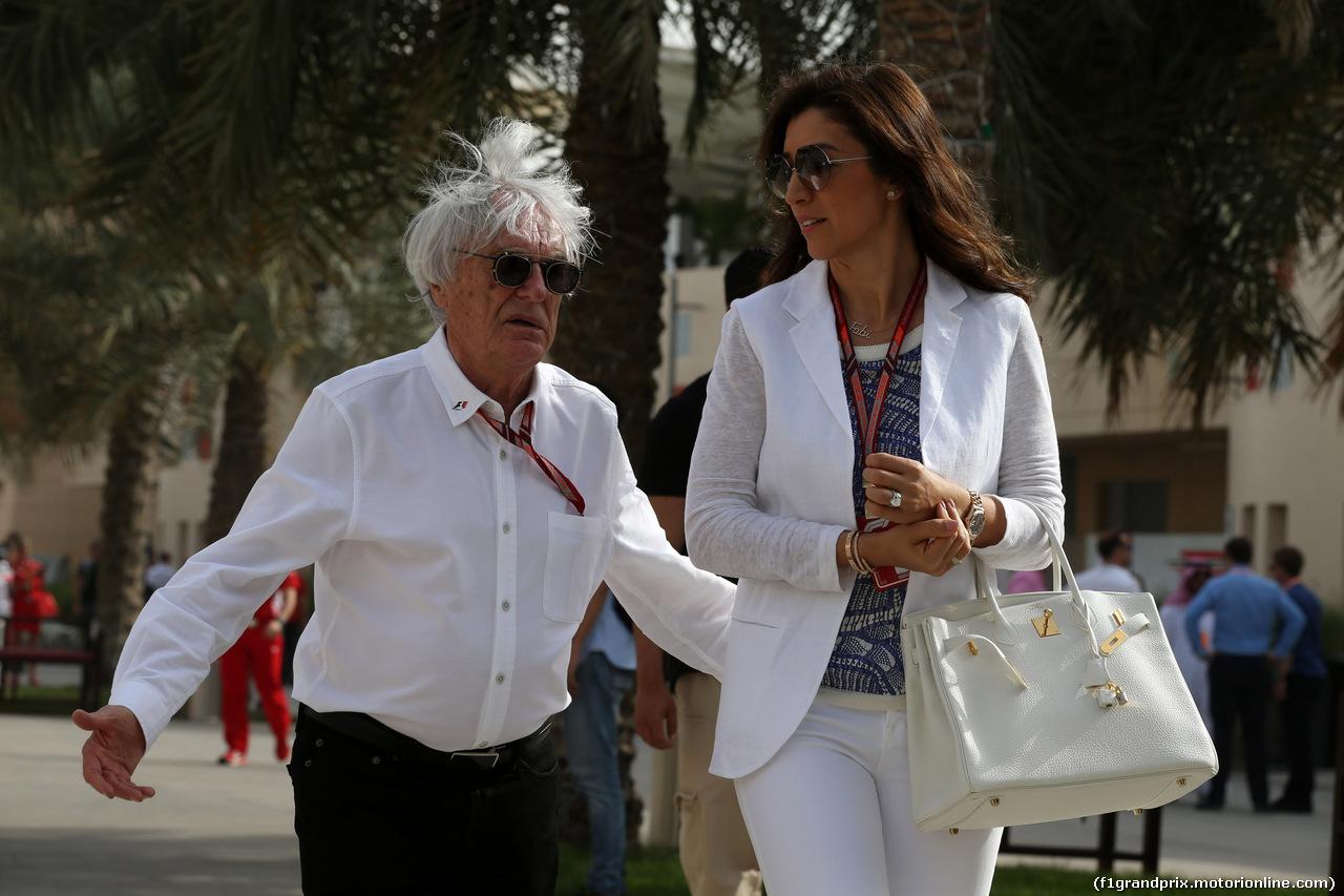 GP BAHRAIN, 08.04.2018 - Bernie Ecclestone (GBR) e sua moglie Fabiana Flosi (BRA)