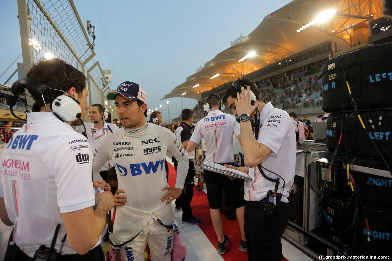 GP BAHRAIN, 08.04.2018 - Gara, Sergio Perez (MEX) Sahara Force India F1 VJM011