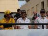 GP BAHRAIN, 08.04.2018 - Carlos Sainz Jr (ESP) Renault Sport F1 Team RS18, Fernando Alonso (ESP) McLaren MCL33 e Stoffel Vandoorne (BEL) McLaren MCL33 at drivers parade