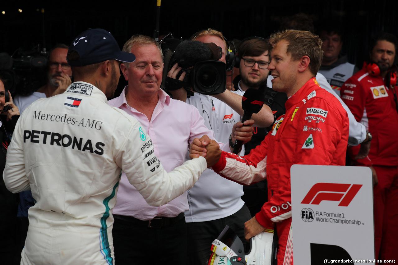 GP BELGIO, 26.08.2018 - Gara, 2à Lewis Hamilton (GBR) Mercedes AMG F1 W09 e Sebastian Vettel (GER) Ferrari SF71H vincitore