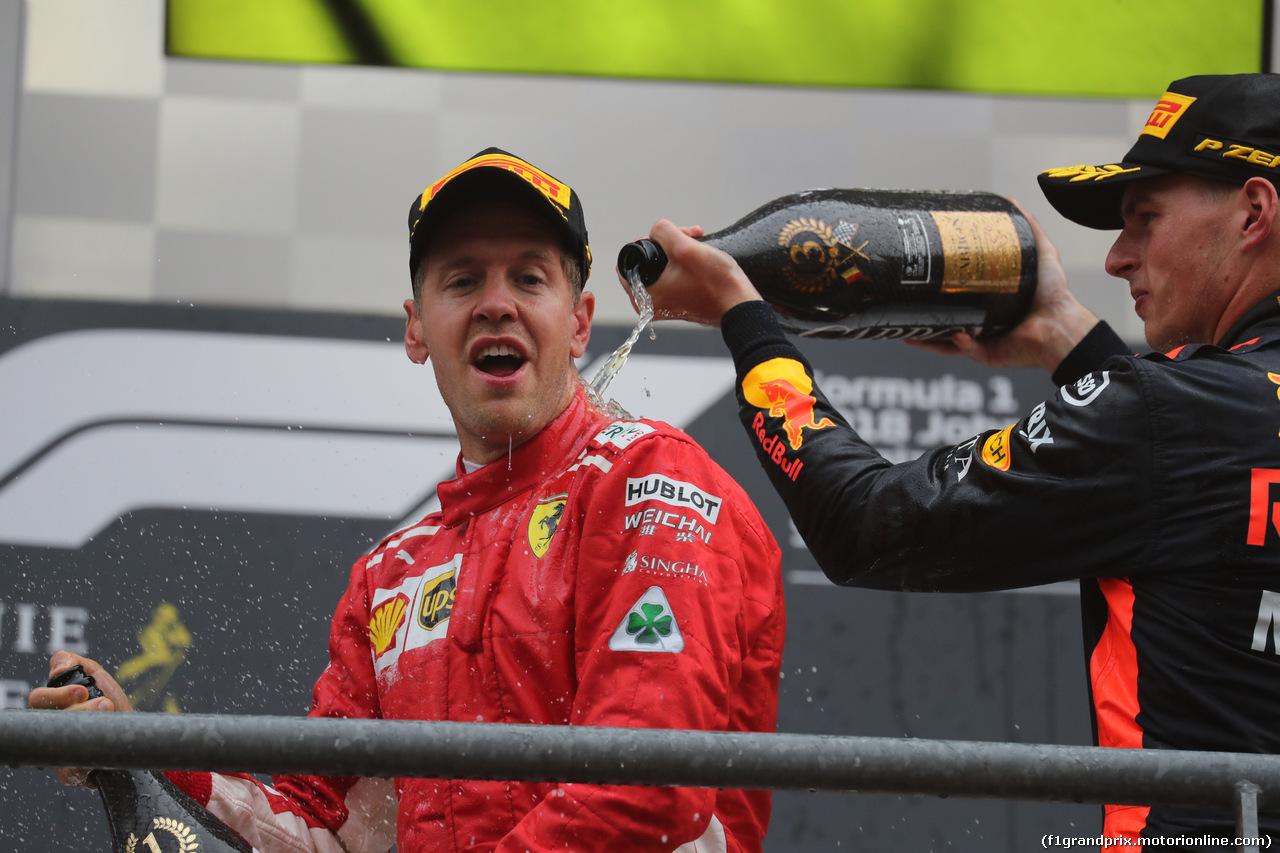 GP BELGIO, 26.08.2018 - Gara, Sebastian Vettel (GER) Ferrari SF71H vincitore e 3rd place Max Verstappen (NED) Red Bull Racing RB14