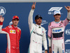 GP BELGIO, 25.08.2018 - Qualifiche, 2nd place Sebastian Vettel (GER) Ferrari SF71H, Lewis Hamilton (GBR) Mercedes AMG F1 W09 pole position e 3rd place Esteban Ocon (FRA) Racing Point Force India F1 VJM11