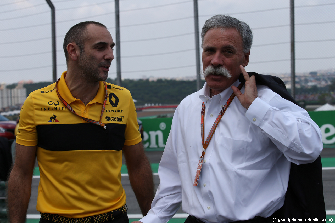 GP BRASILE, 11.11.2018 - Gara, Cyril Abiteboul (FRA) Renault Sport F1 Managing Director e Chase Carey (USA) Formula One Group Chairman