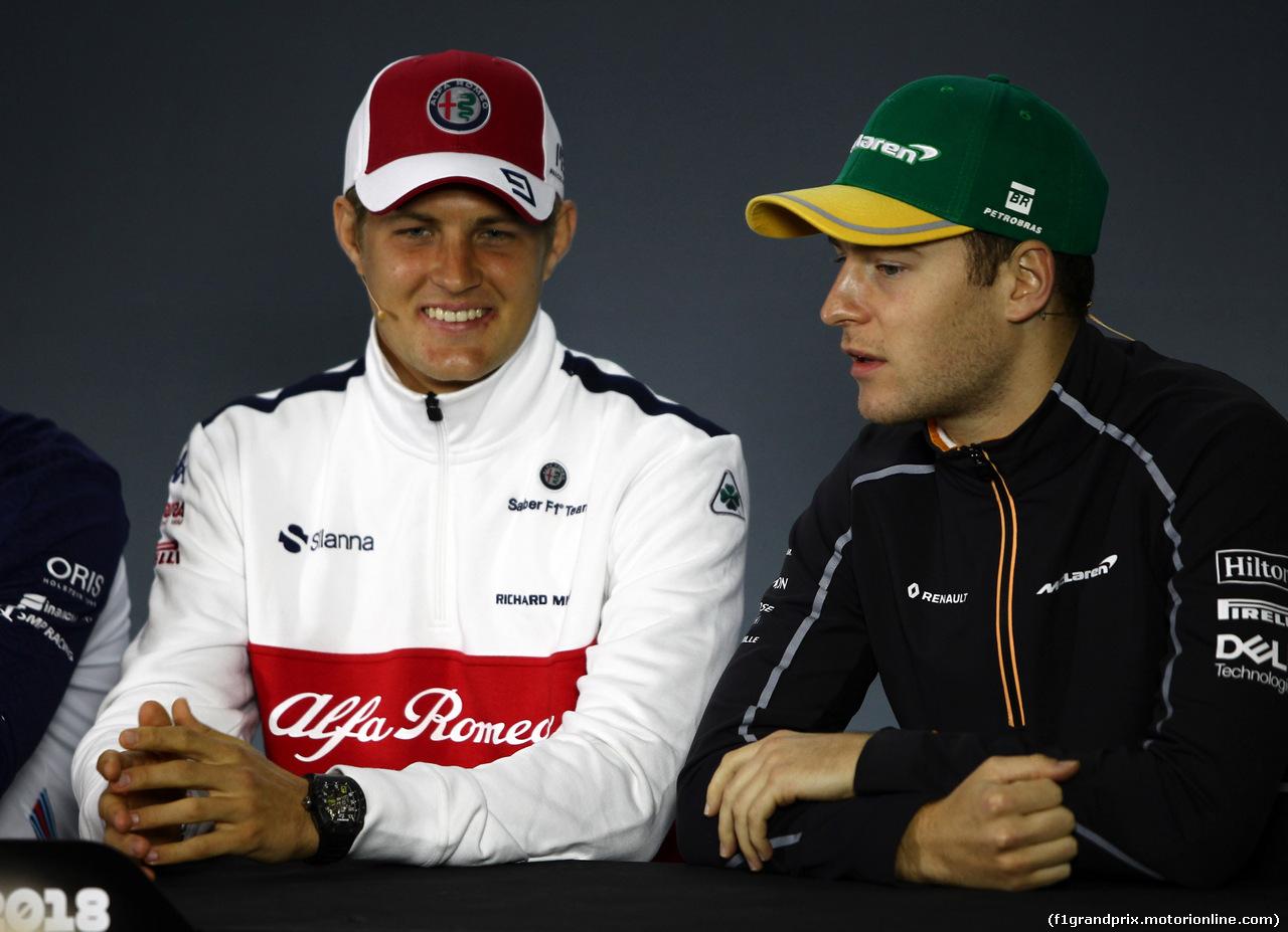 GP BRASILE, 08.11.2018 - Conferenza Stampa, Marcus Ericsson (SUE) Sauber C37 e Stoffel Vandoorne (BEL) McLaren MCL33