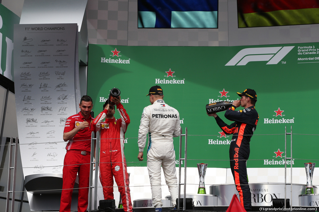 GP CANADA, 10.06.2018- Podium, winner Sebastian Vettel (GER) Ferrari SF71H, 2nd Place Valtteri Bottas (FIN) Mercedes AMG F1 W09, 3rd place Max Verstappen (NED) Red Bull Racing RB14