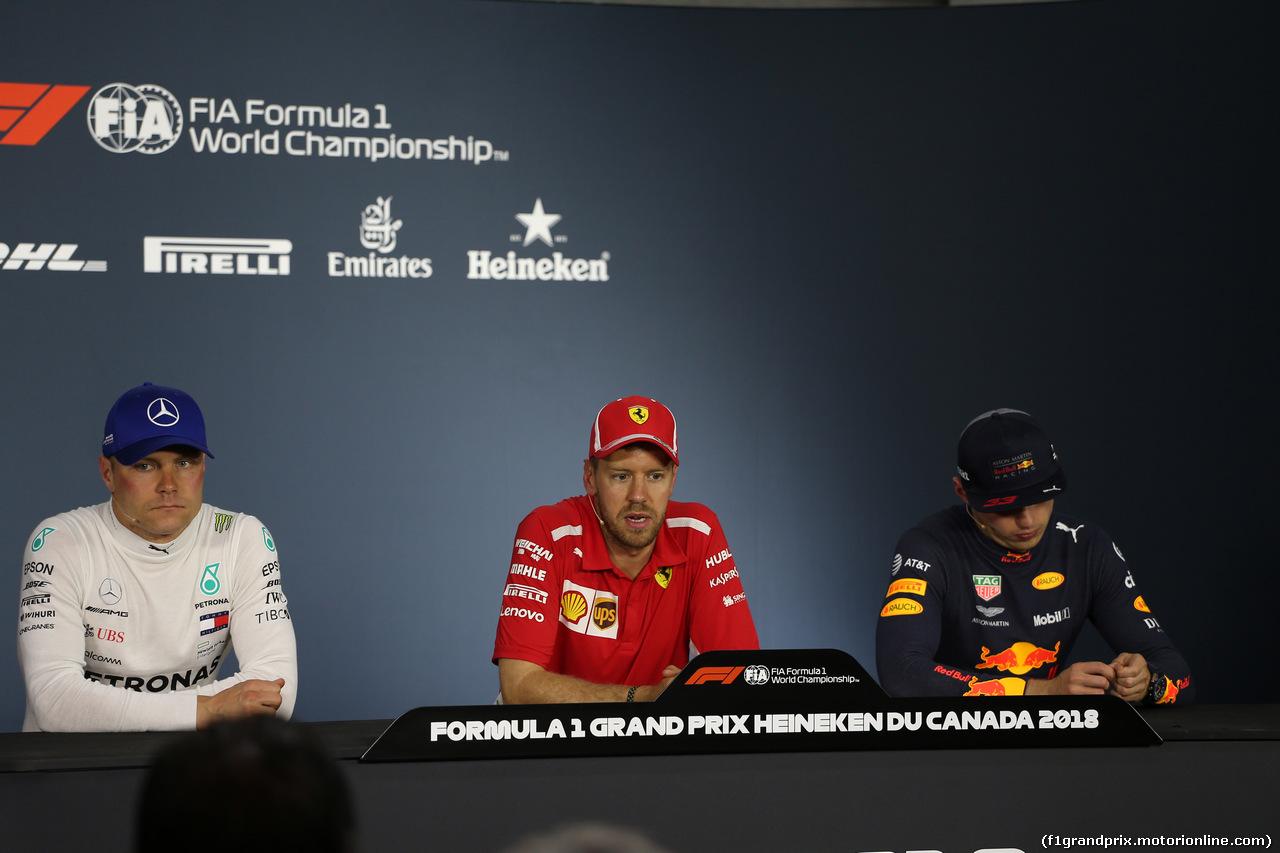 GP CANADA, 10.06.2018- After Gara Official Fia press conference, L to R Valtteri Bottas (FIN) Mercedes AMG F1 W09, Sebastian Vettel (GER) Ferrari SF71H, Max Verstappen (NED) Red Bull Racing RB14