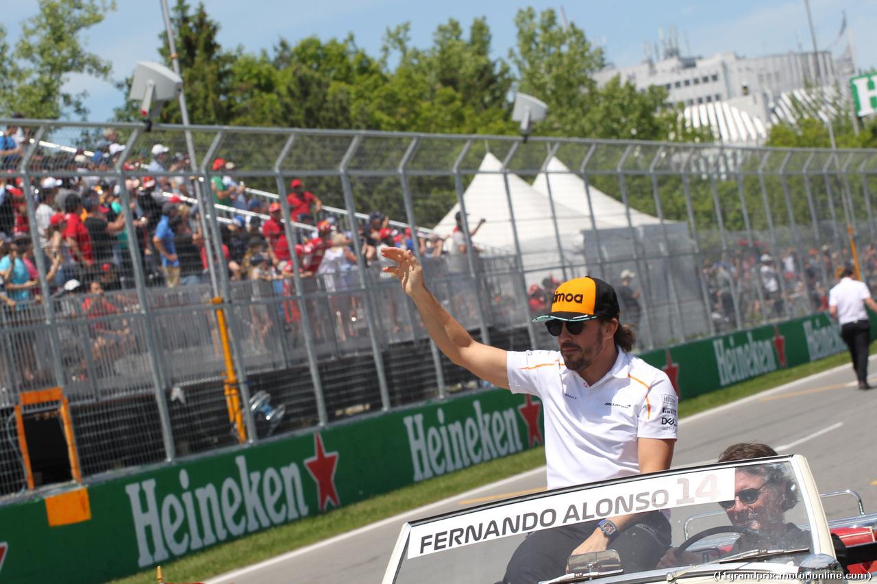 GP CANADA, 10.06.2018- driver parade, Fernando Alonso (ESP) McLaren Renault MCL33